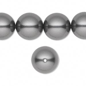 pearl, swarovski crystals, dark grey, 14mm round with 1.3-1.5mm hole (5811). sold per pkg of 50.