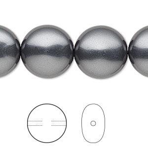 pearl, swarovski crystals, dark grey, 16mm coin (5860). sold per pkg of 5.
