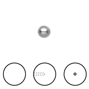 pearl, swarovski crystals, grey, 6mm half-drilled round (5818). sold per pkg of 50.