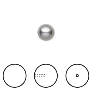 pearl, swarovski crystals, grey, 8mm half-drilled round (5818). sold per pkg of 2.