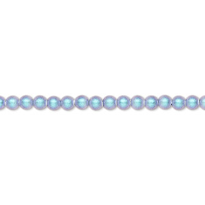 pearl, swarovski crystals, iridescent light blue pearl, 3mm round (5810). sold per pkg of 100.