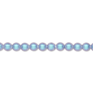 pearl, swarovski crystals, iridescent light blue pearl, 4mm round (5810). sold per pkg of 100.