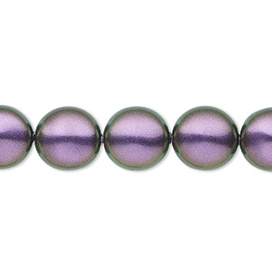 pearl, swarovski crystals, iridescent purple, 12mm coin (5860). sold per pkg of 100.