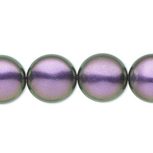 pearl, swarovski crystals, iridescent purple, 16mm coin (5860). sold per pkg of 5.