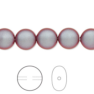pearl, swarovski crystals, iridescent red, 10mm coin (5860). sold per pkg of 100.