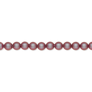 pearl, swarovski crystals, iridescent red, 4mm round (5810). sold per pkg of 100.