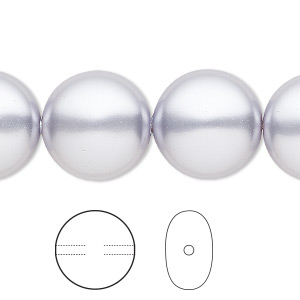 pearl, swarovski crystals, lavender, 16mm coin (5860). sold per pkg of 5.
