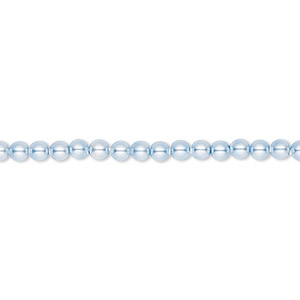 pearl, swarovski crystals, light blue, 3mm round (5810). sold per pkg of 100.