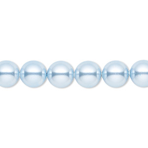 pearl, swarovski crystals, light blue, 8mm round (5810). sold per pkg of 50.