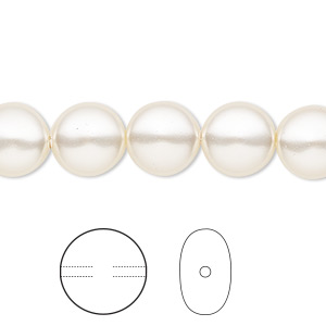 pearl, swarovski crystals, light creamrose, 10mm coin (5860). sold per pkg of 10.
