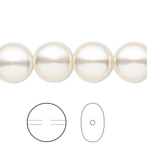 pearl, swarovski crystals, light creamrose, 12mm coin (5860). sold per pkg of 10.