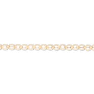 pearl, swarovski crystals, light gold, 3mm round (5810). sold per pkg of 1,000.