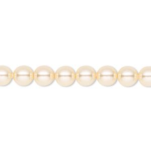pearl, swarovski crystals, light gold, 6mm round (5810). sold per pkg of 500.