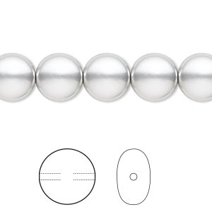 pearl, swarovski crystals, light grey, 10mm coin (5860). sold per pkg of 10.