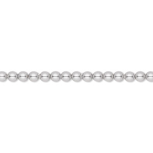 pearl, swarovski crystals, light grey, 3mm round (5810). sold per pkg of 100.