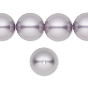 pearl, swarovski crystals, mauve, 14mm round with 1.3-1.5mm hole (5811). sold per pkg of 10.