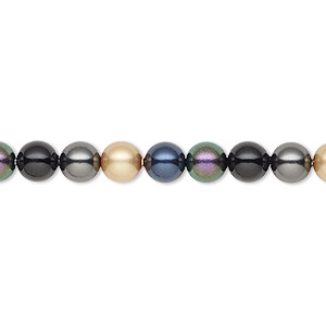 pearl, swarovski crystals, mystery, 6mm round (5810). sold per pkg of 50.
