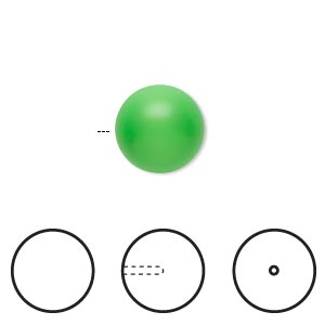 pearl, swarovski crystals, neon green, 12mm half-drilled round (5818). sold per pkg of 10.