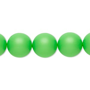 pearl, swarovski crystals, neon green, 12mm round (5810). sold per pkg of 10.