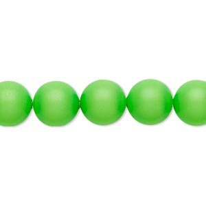 pearl, swarovski crystals, neon green, 16mm round with 1.3-1.5mm hole (5811). sold per pkg of 25.
