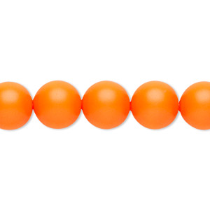 pearl, swarovski crystals, neon orange, 10mm round with 1.3-1.5mm hole (5811). sold per pkg of 100.