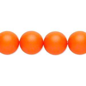 pearl, swarovski crystals, neon orange, 12mm round (5810). sold per pkg of 100.