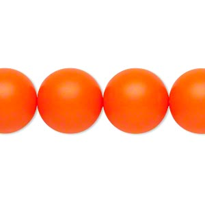 pearl, swarovski crystals, neon orange, 14mm round with 1.3-1.5mm hole (5811). sold per pkg of 50.