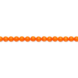 pearl, swarovski crystals, neon orange, 3mm round (5810). sold per pkg of 100.