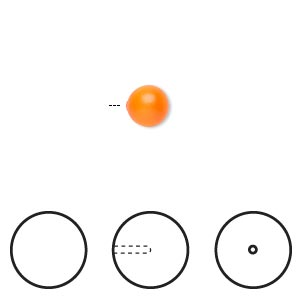 pearl, swarovski crystals, neon orange, 6mm half-drilled round (5818). sold per pkg of 50.