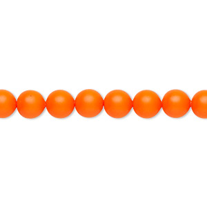 pearl, swarovski crystals, neon orange, 6mm round (5810). sold per pkg of 50.