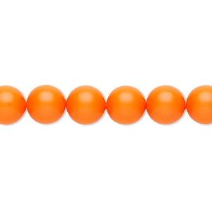 pearl, swarovski crystals, neon orange, 8mm round (5810). sold per pkg of 250.