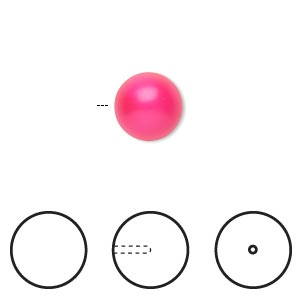 pearl, swarovski crystals, neon pink, 10mm half-drilled round (5818). sold per pkg of 100.