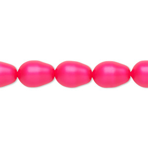 pearl, swarovski crystals, neon pink, 11x8mm pear (5821). sold per pkg of 250.