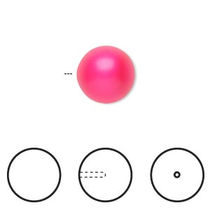 pearl, swarovski crystals, neon pink, 12mm half-drilled round (5818). sold per pkg of 100.