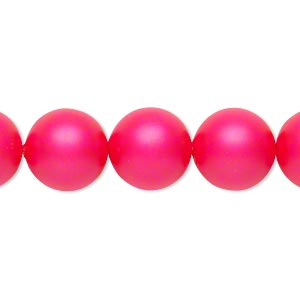 pearl, swarovski crystals, neon pink, 12mm round (5810). sold per pkg of 100.