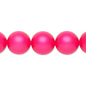 pearl, swarovski crystals, neon pink, 12mm round with 1.3-1.5mm hole (5811). sold per pkg of 10.