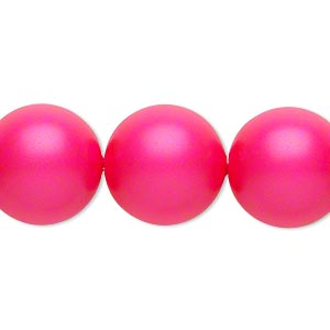 pearl, swarovski crystals, neon pink, 16mm round with 1.3-1.5mm hole (5811). sold per pkg of 5.