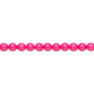 pearl, swarovski crystals, neon pink, 4mm round (5810). sold per pkg of 500.