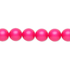 pearl, swarovski crystals, neon pink, 8mm round (5810). sold per pkg of 250.