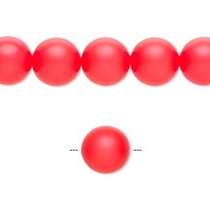 pearl, swarovski crystals, neon red, 10mm round with 1.3-1.5mm hole (5811). sold per pkg of 100.