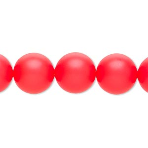 pearl, swarovski crystals, neon red, 12mm round (5810). sold per pkg of 100.