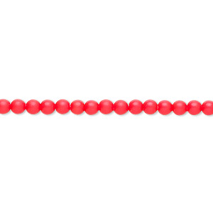 pearl, swarovski crystals, neon red, 3mm round (5810). sold per pkg of 1,000.