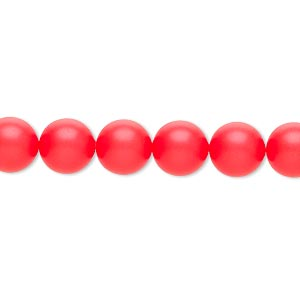 pearl, swarovski crystals, neon red, 8mm round (5810). sold per pkg of 250.