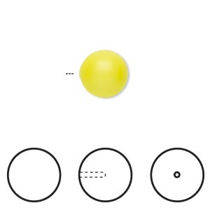 pearl, swarovski crystals, neon yellow, 10mm half-drilled round (5818). sold per pkg of 2.