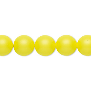 pearl, swarovski crystals, neon yellow, 10mm round (5810). sold per pkg of 25.