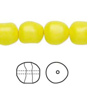 pearl, swarovski crystals, neon yellow, 12mm baroque (5840). sold per pkg of 10.