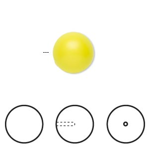 pearl, swarovski crystals, neon yellow, 12mm half-drilled round (5818). sold per pkg of 2.