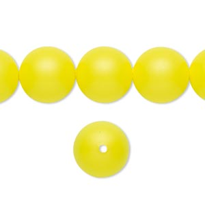 pearl, swarovski crystals, neon yellow, 12mm round with 1.3-1.5mm hole (5811). sold per pkg of 100.