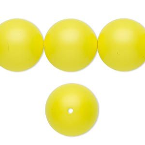 pearl, swarovski crystals, neon yellow, 16mm round with 1.3-1.5mm hole (5811). sold per pkg of 25.