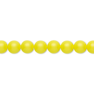 pearl, swarovski crystals, neon yellow, 6mm round (5810). sold per pkg of 50.